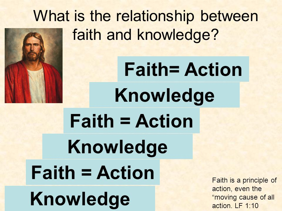 Knowledge Faith = Action Knowledge Faith = Action Knowledge Faith= Action Faith is a principle of action, even the moving cause of all action.