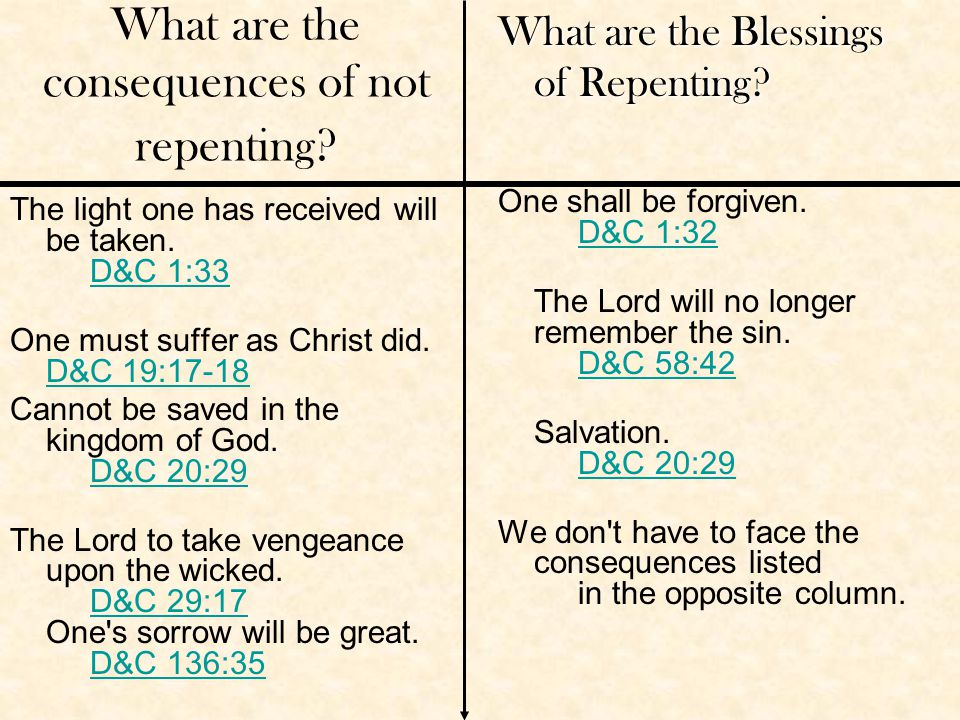 What are the consequences of not repenting.The light one has received will be taken.