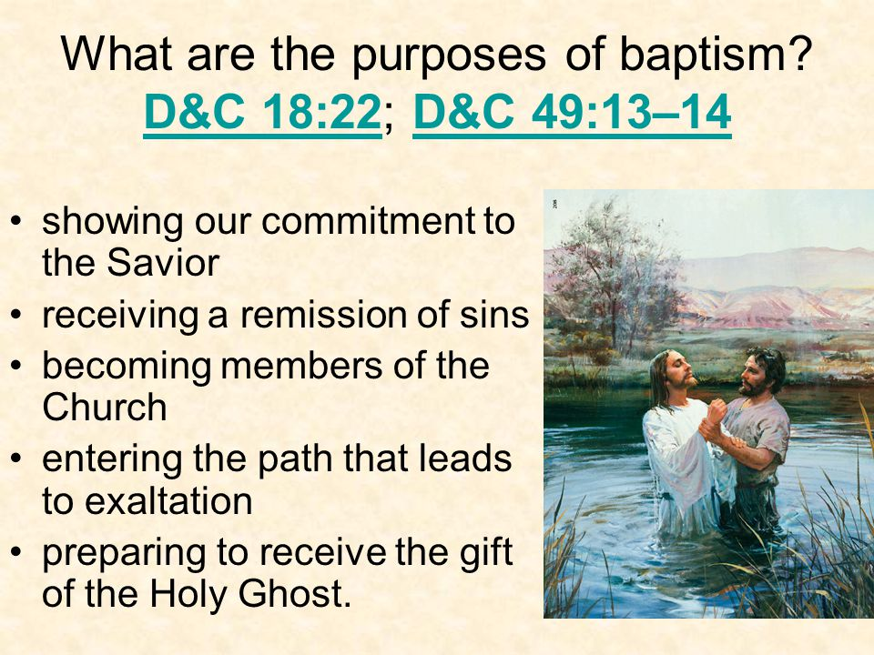 What are the purposes of baptism.