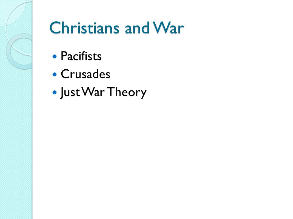 Church and War –pp162-163 Just War theory – Ambrose, Augustine and Thomas Aquinas ◦ Copy, memorize criteria