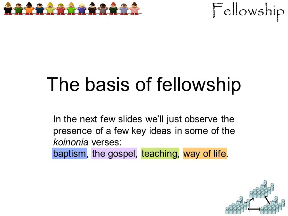 Fellowship The basis of fellowship In the next few slides we'll just observe the presence of a few key ideas in some of the koinonia verses: baptism, the gospel, teaching, way of life.