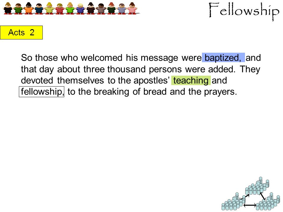 Fellowship Acts 2 So those who welcomed his message were baptized, and that day about three thousand persons were added.