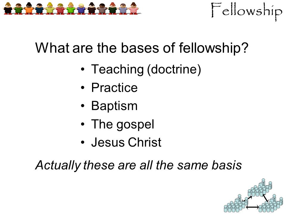 Fellowship Teaching (doctrine) Practice Baptism The gospel Jesus Christ What are the bases of fellowship.