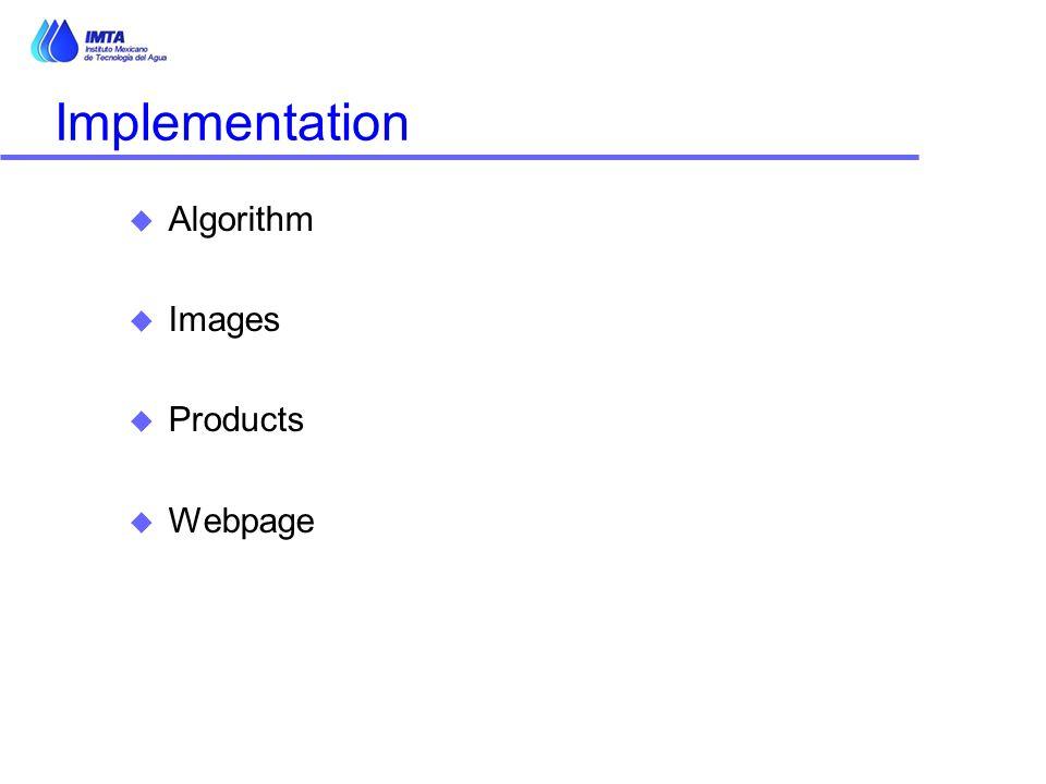 Implementation u Algorithm u Images u Products u Webpage