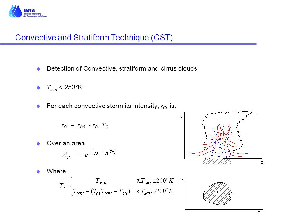 Convective and Stratiform Technique (CST) u Detection of Convective, stratiform and cirrus clouds  T min < 253°K  For each convective storm its inte