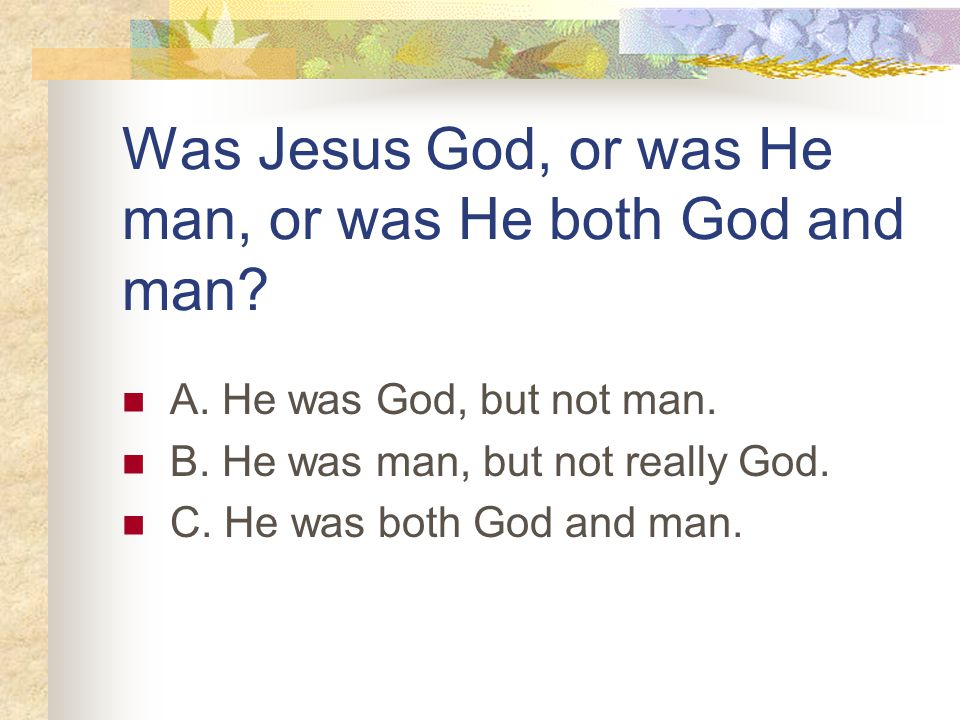 Was Jesus God, or was He man, or was He both God and man.