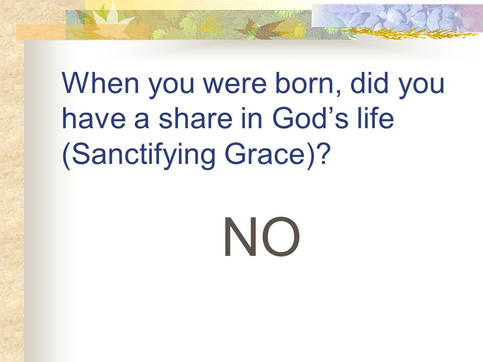When you were born, did you have a share in God's life (Sanctifying Grace) NO