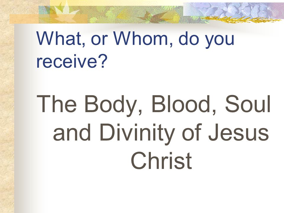 What, or Whom, do you receive The Body, Blood, Soul and Divinity of Jesus Christ