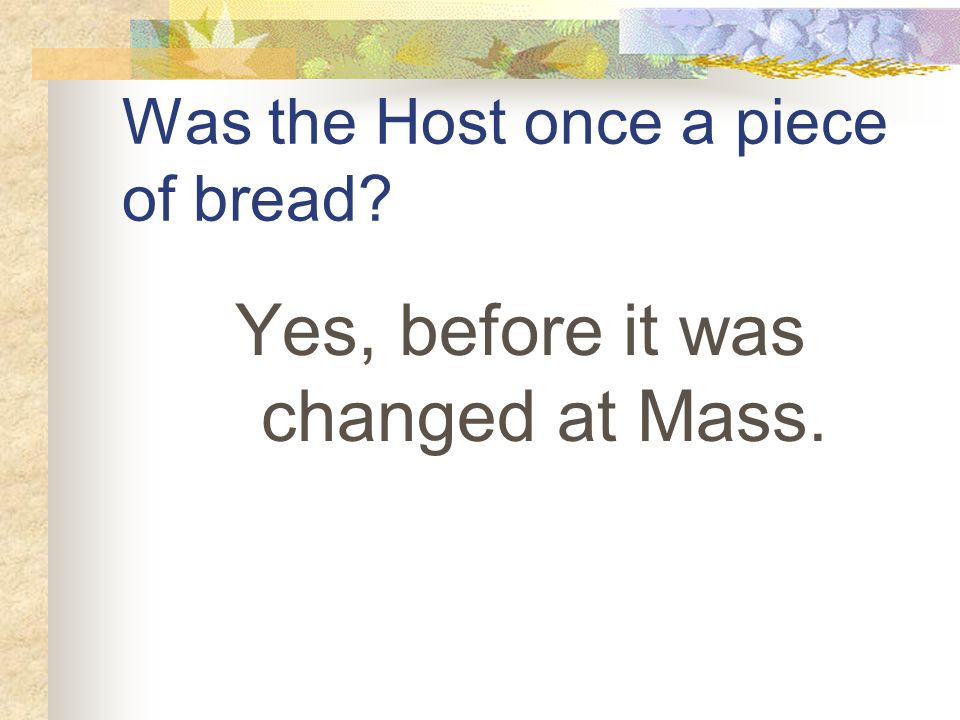 Was the Host once a piece of bread Yes, before it was changed at Mass.