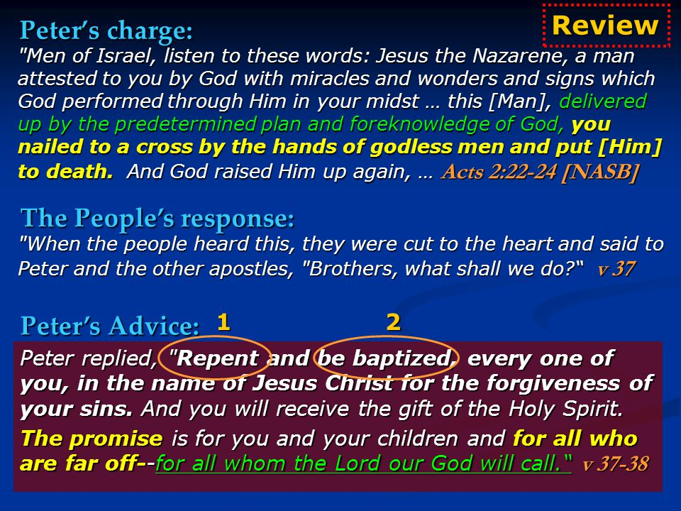 Peter's charge: Men of Israel, listen to these words: Jesus the Nazarene, a man attested to you by God with miracles and wonders and signs which God performed through Him in your midst … this [Man], delivered up by the predetermined plan and foreknowledge of God, you nailed to a cross by the hands of godless men and put [Him] to death.