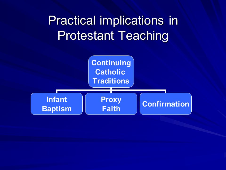Practical implications in Protestant Teaching Continuing Catholic Traditions Infant Baptism Proxy Faith Confirmation
