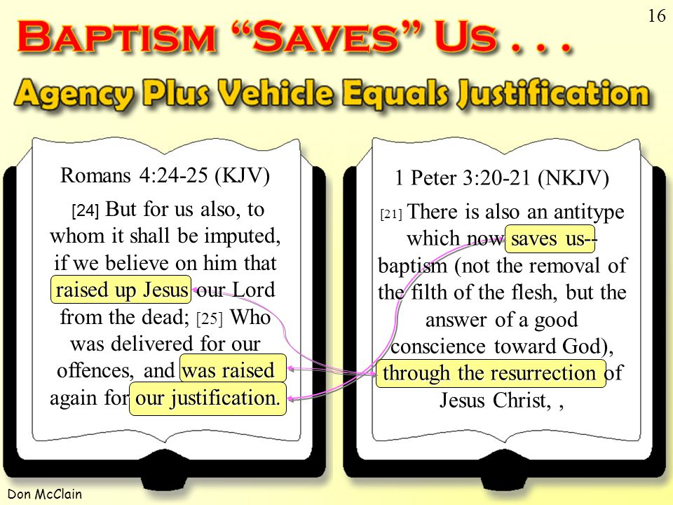 Don McClain 16 1 Peter 3:20-21 (NKJV) [21] There is also an antitype which now saves us-- baptism (not the removal of the filth of the flesh, but the