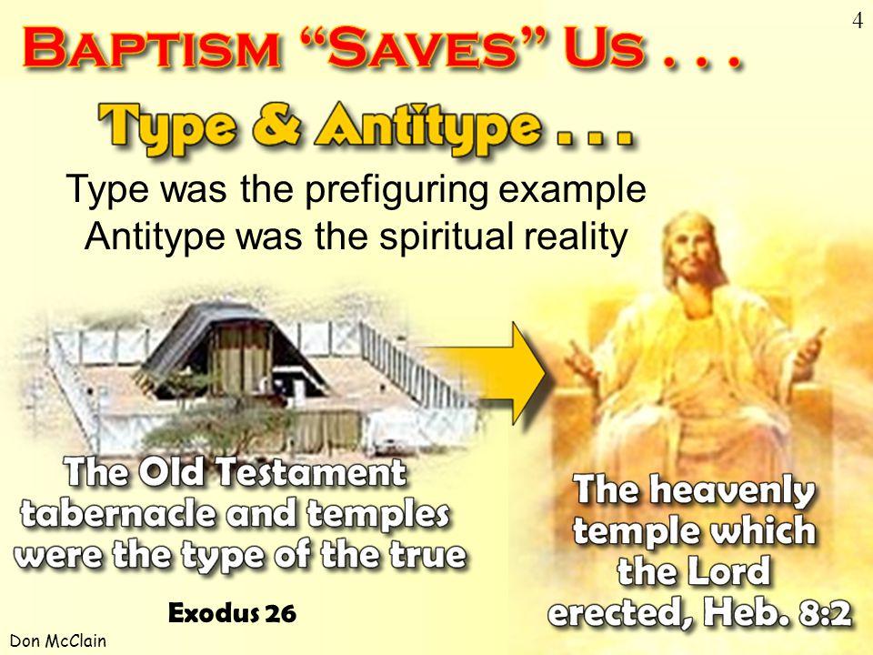 Don McClain 4 Type & Antitype Type was the prefiguring example Antitype was the spiritual reality Exodus 26