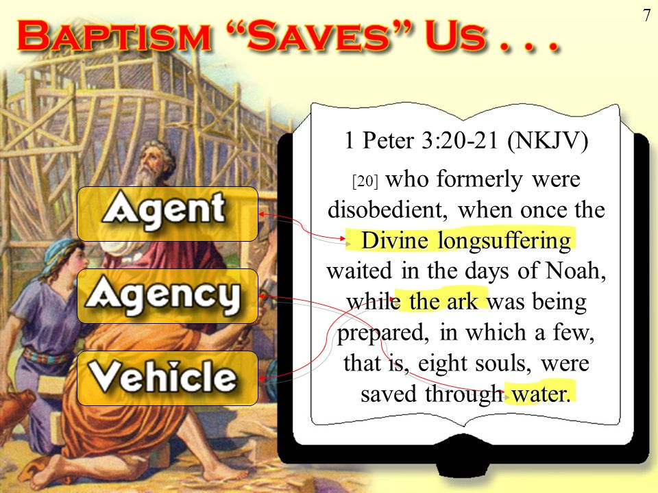 Don McClain 7 1 Peter 3:20-21 (NKJV) [20] who formerly were disobedient, when once the Divine longsuffering waited in the days of Noah, while the ark was being prepared, in which a few, that is, eight souls, were saved through water.