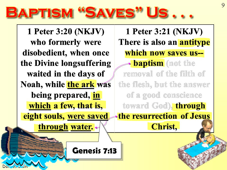 Don McClain 9 1 Peter 3:20 (NKJV) who formerly were disobedient, when once the Divine longsuffering waited in the days of Noah, while the ark was being prepared, in which a few, that is, eight souls, were saved through water.