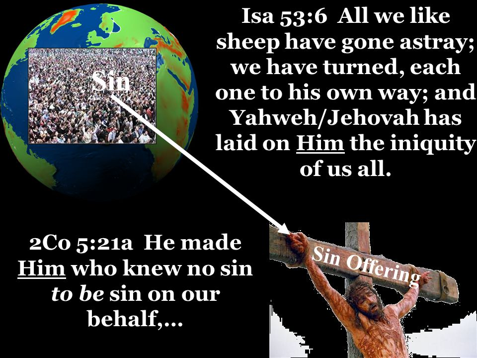 Sin 2Co 5:21a He made Him who knew no sin to be sin on our behalf,… Isa 53:6 All we like sheep have gone astray; we have turned, each one to his own way; and Yahweh/Jehovah has laid on Him the iniquity of us all.