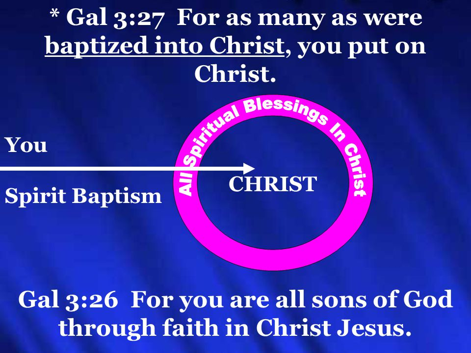 * Gal 3:27 For as many as were baptized into Christ, you put on Christ.