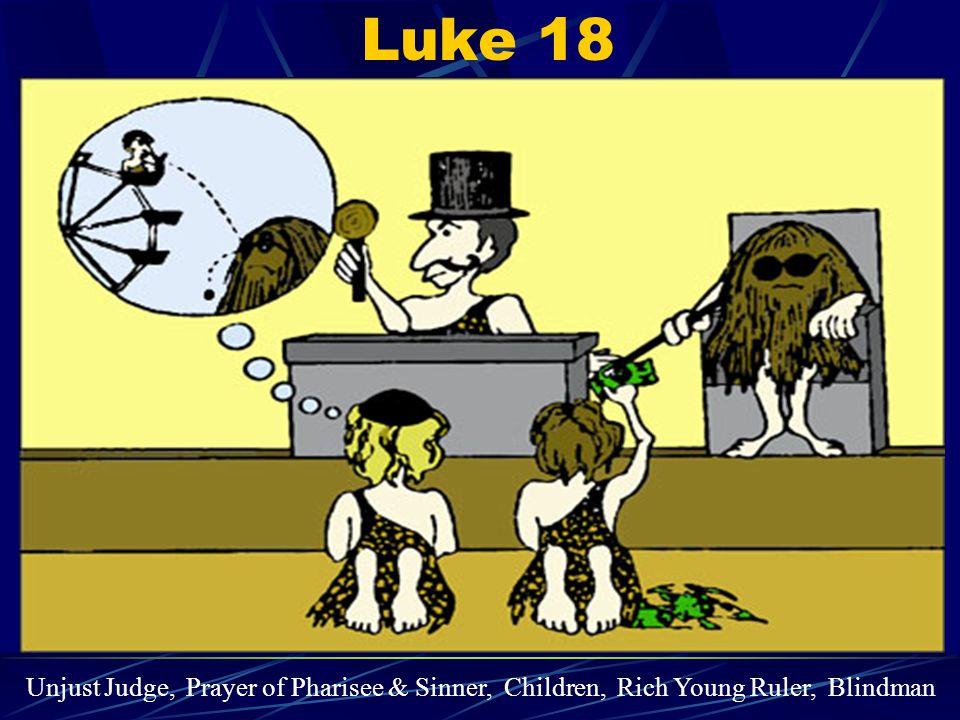 Luke 18 Unjust Judge, Prayer of Pharisee & Sinner, Children, Rich Young Ruler, Blindman