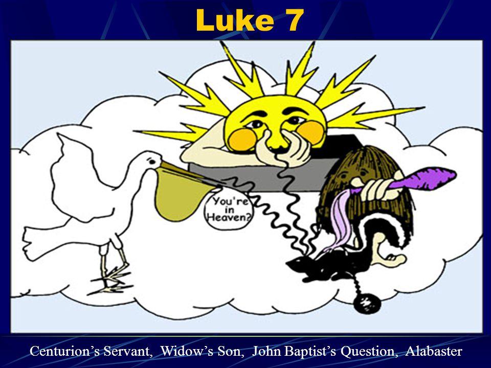 Luke 7 Centurion's Servant, Widow's Son, John Baptist's Question, Alabaster