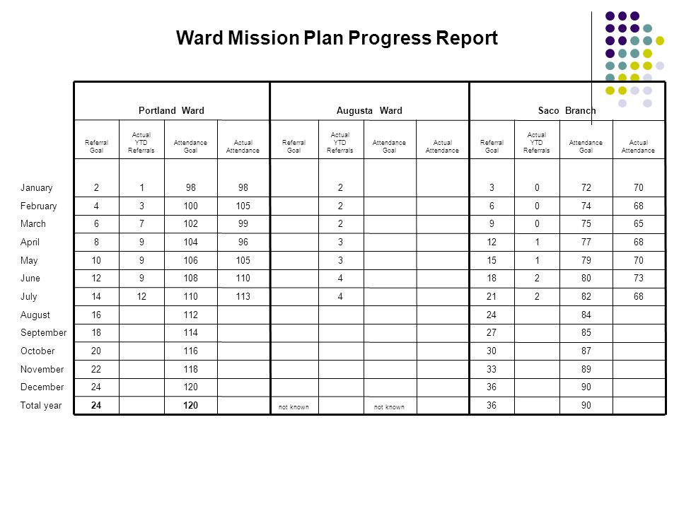 Ward Mission Plan Progress Report
