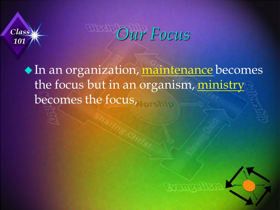 Class 101 Our Focus u In an organization, maintenance becomes the focus but in an organism, ministry becomes the focus,