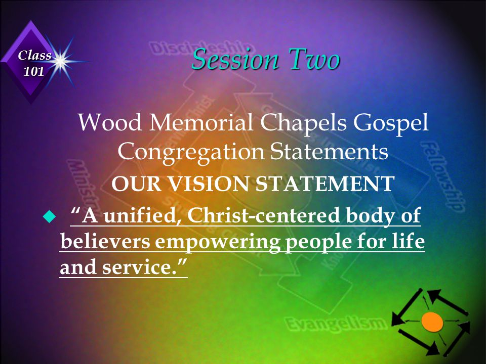 """Class 101 Wood Memorial Chapels Gospel Congregation Statements OUR VISION STATEMENT u """"A unified, Christ-centered body of believers empowering people"""