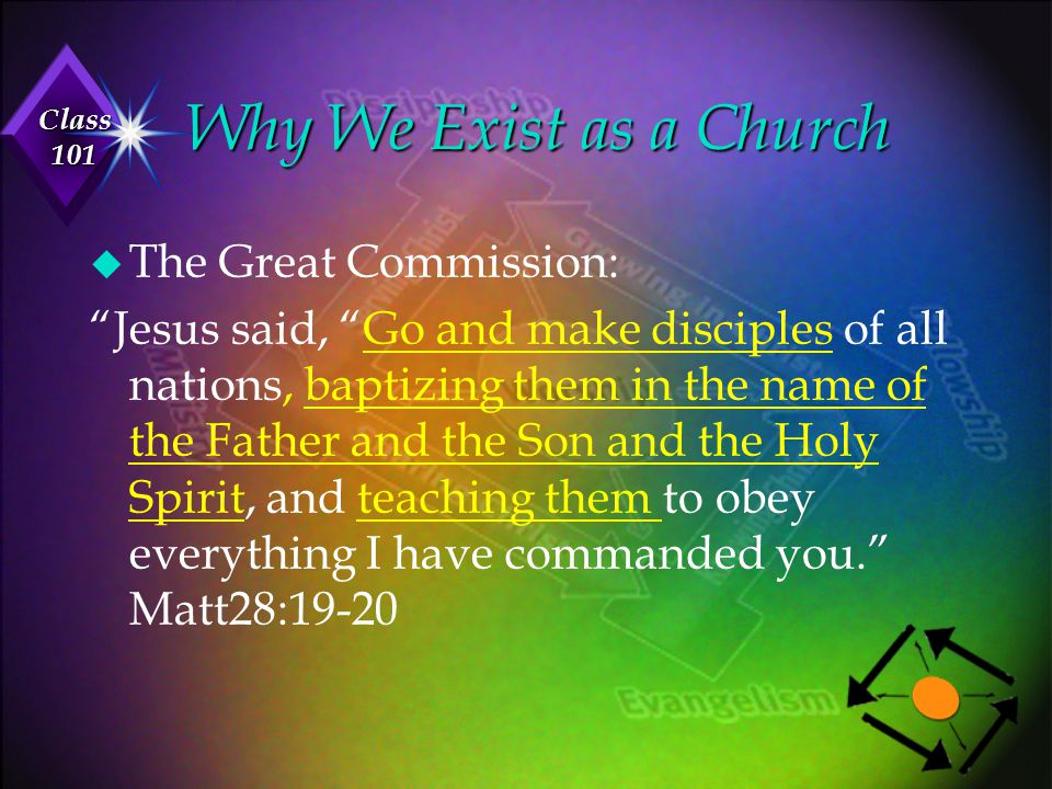 """Class 101 u The Great Commission: """"Jesus said, """"Go and make disciples of all nations, baptizing them in the name of the Father and the Son and the Hol"""