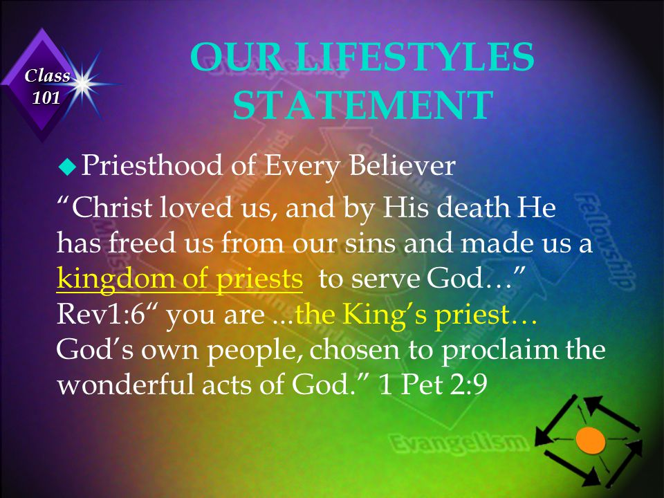 """Class 101 u Priesthood of Every Believer """"Christ loved us, and by His death He has freed us from our sins and made us a kingdom of priests to serve Go"""
