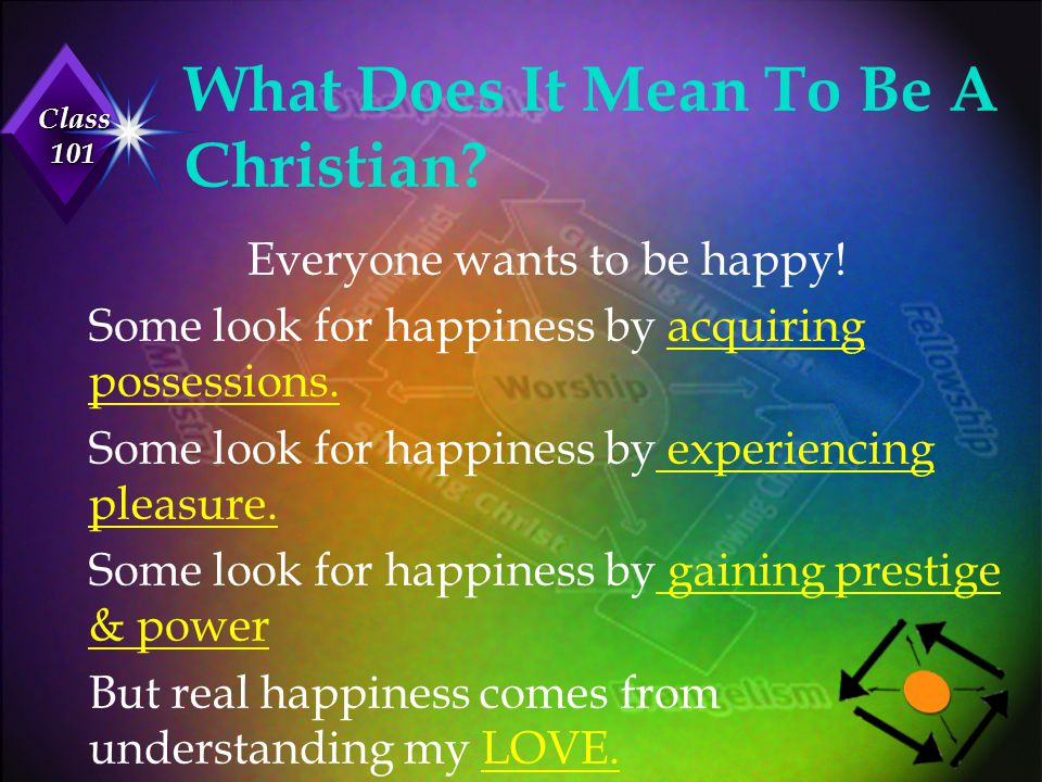 Class 101 What Does It Mean To Be A Christian? Everyone wants to be happy! Some look for happiness by acquiring possessions. Some look for happiness b