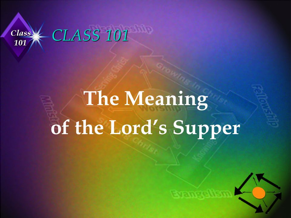 Class 101 CLASS 101 The Meaning of the Lord's Supper