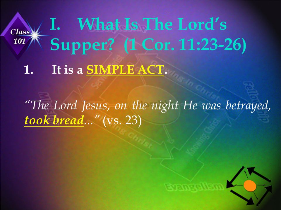 """Class 101 I.What Is The Lord's Supper? (1 Cor. 11:23-26) 1.It is a SIMPLE ACT. """"The Lord Jesus, on the night He was betrayed, took bread..."""" (vs. 23)"""