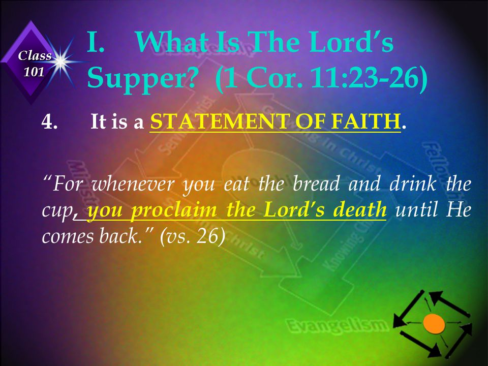 """Class 101 I.What Is The Lord's Supper? (1 Cor. 11:23-26) 4.It is a STATEMENT OF FAITH. """"For whenever you eat the bread and drink the cup, you proclaim"""
