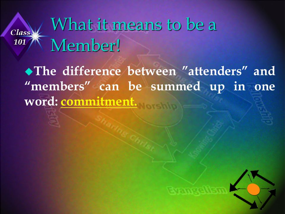 """Class 101 What it means to be a Member! u The difference between """"attenders"""" and """"members"""" can be summed up in one word: commitment."""