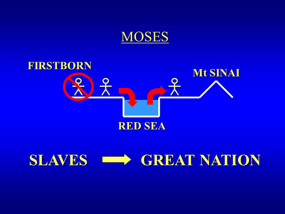 FIRSTBORN FIRSTBORN RED SEA Mt SINAI SLAVES GREAT NATION MOSES