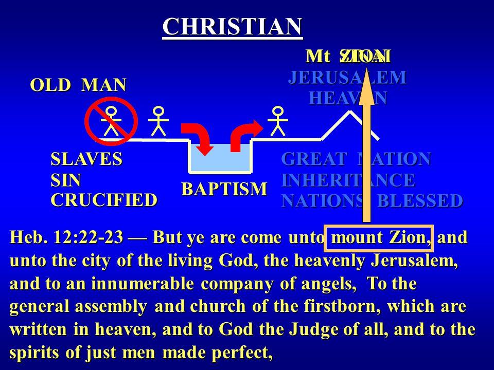 BAPTISM OLD MAN CHRISTIAN HEAVEN NATIONS BLESSED GREAT NATION JERUSALEM INHERITANCE Heb.