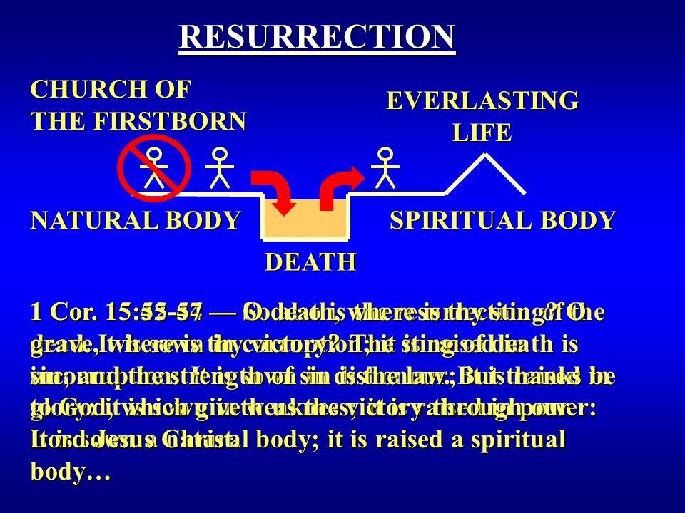 DEATH RESURRECTION EVERLASTING LIFE NATURAL BODY SPIRITUAL BODY 1 Cor.