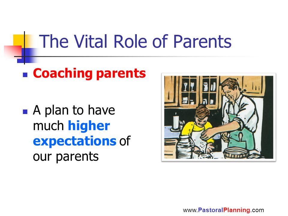 The Vital Role of Parents Coaching parents A plan to have much higher expectations of our parents www.PastoralPlanning.com