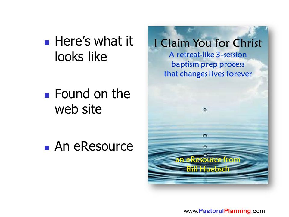 Here's what it looks like Found on the web site An eResource www.PastoralPlanning.com