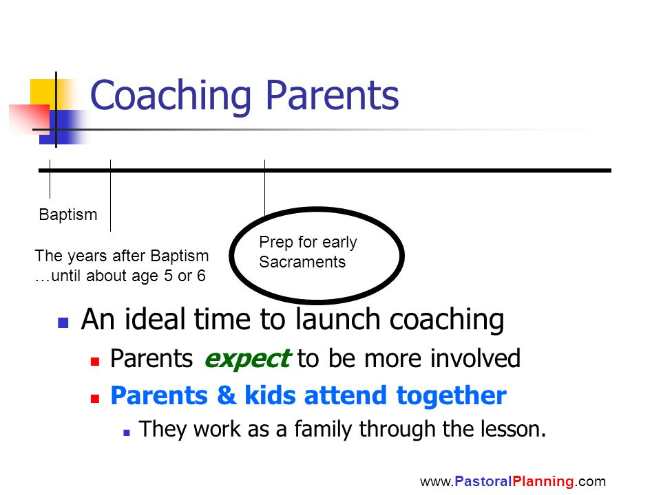 Coaching Parents www.PastoralPlanning.com Baptism The years after Baptism …until about age 5 or 6 Prep for early Sacraments An ideal time to launch coaching Parents expect to be more involved Parents & kids attend together They work as a family through the lesson.