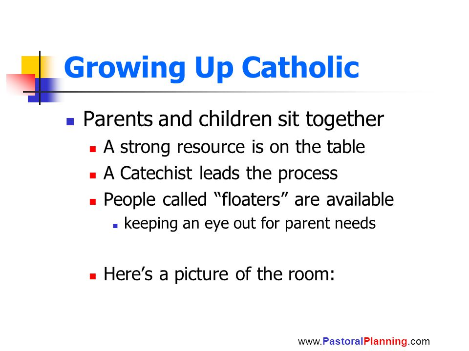 Growing Up Catholic Parents and children sit together A strong resource is on the table A Catechist leads the process People called floaters are available keeping an eye out for parent needs Here's a picture of the room: www.PastoralPlanning.com