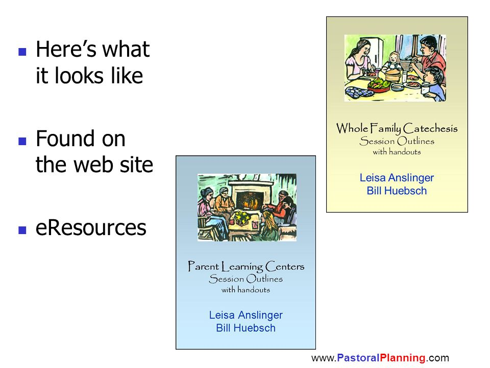 Here's what it looks like Found on the web site eResources www.PastoralPlanning.com
