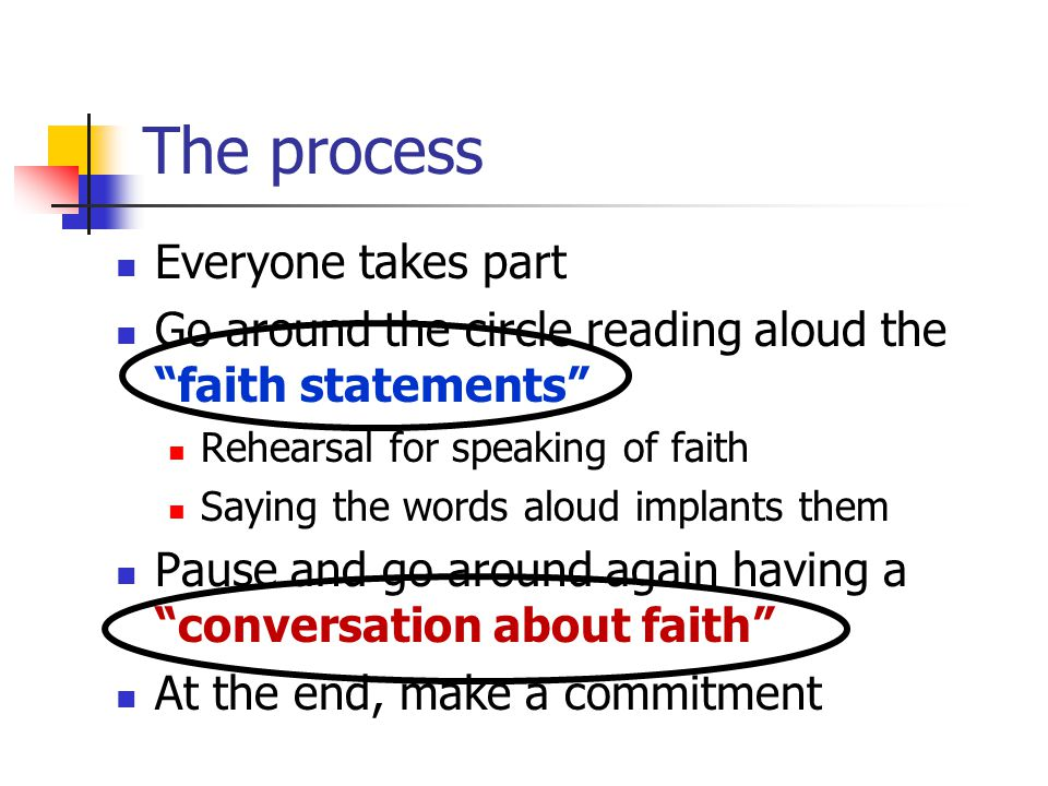 The process Everyone takes part Go around the circle reading aloud the faith statements Rehearsal for speaking of faith Saying the words aloud implants them Pause and go around again having a conversation about faith At the end, make a commitment