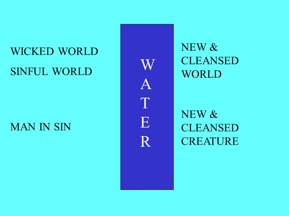 WATERWATER WICKED WORLD SINFUL WORLD NEW & CLEANSED WORLD MAN IN SIN NEW & CLEANSED CREATURE