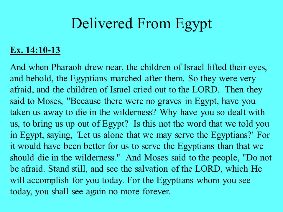 Ex. 14:10-13 And when Pharaoh drew near, the children of Israel lifted their eyes, and behold, the Egyptians marched after them. So they were very afr