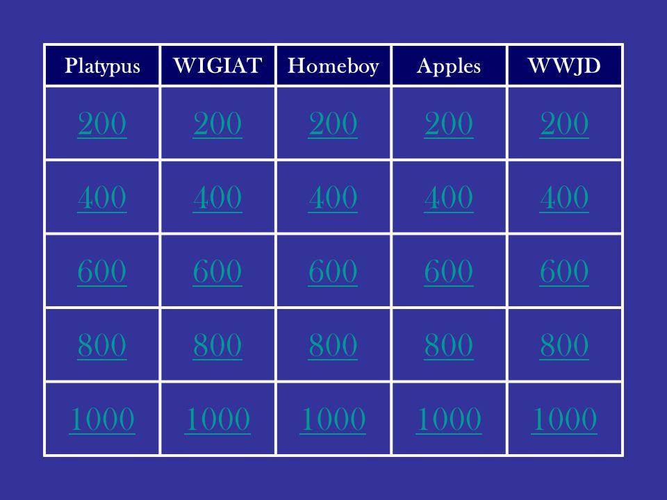 PlatypusWIGIATHomeboyApplesWWJD 200 400 600 800 1000