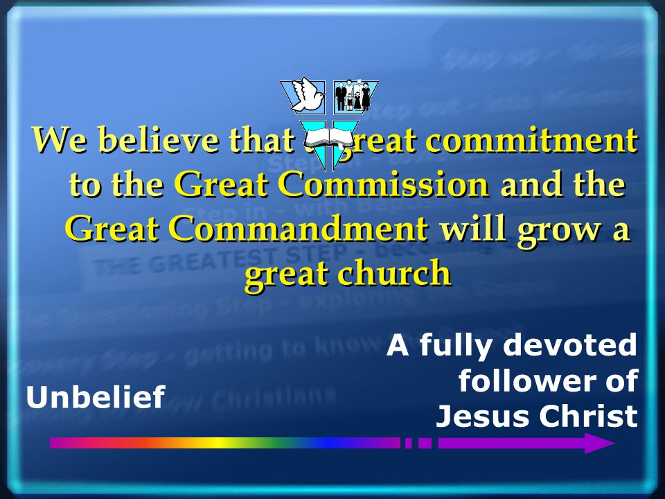 We believe that a great commitment to the Great Commission and the Great Commandment will grow a great church Unbelief A fully devoted follower of Jes