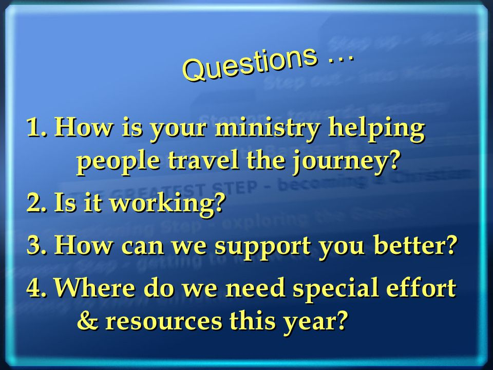 1.How is your ministry helping people travel the journey.