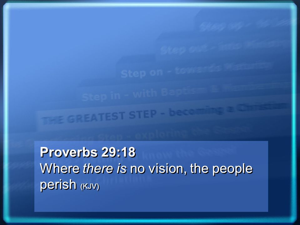 Proverbs 29:18 Where there is no vision, the people perish (KJV) Proverbs 29:18 Where there is no vision, the people perish (KJV)