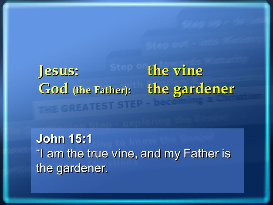 John 15:1 I am the true vine, and my Father is the gardener.