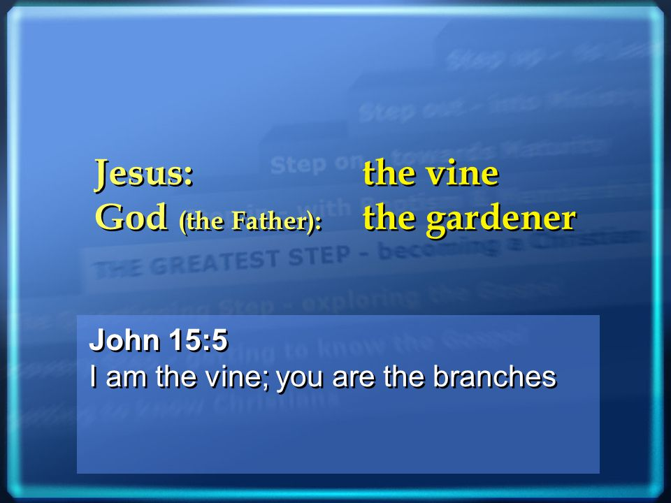 John 15:5 I am the vine; you are the branches John 15:5 I am the vine; you are the branches Jesus: the vine God (the Father): the gardener Jesus: the